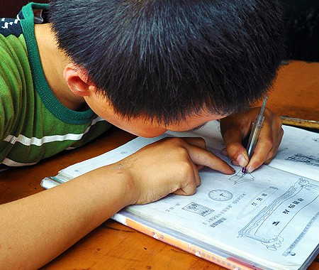 Chinese Kid Studying Maths